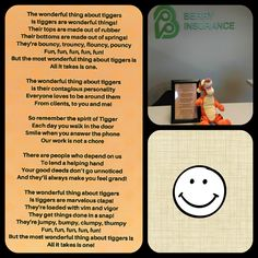 Each of our team members received this note with #Tigger on their desk's this morning. It's a reminder to SMILE & keep things positive. #WinnieThePooh #InsuranceAgency #FranklinMA