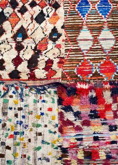 Vintage Berber rugs. Love the irregularity of these and that each one is totally unique.