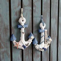 Fashion creative popular towel bag hook home hooks Seashell Crafts, Beach Crafts, Beach Cottage Decor, Coastal Decor, Mediterranean Style Decor, Teapot Crafts, Wood Anchor, Ocean Room, Nautical Bedroom