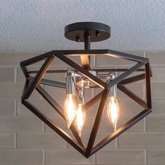 Shop for Alexa Metal Geometric Semi Flush Mount Fixture - Chrome. Get free delivery On EVERYTHING* Overstock - Your Online Ceiling Lighting Store! Get in rewards with Club O! Flush Ceiling Lights, Flush Mount Lighting, Flush Mount Ceiling, Ceiling Light Fixtures, Transitional Wall Sconces, Cool Floor Lamps, Drum Shade, Bulb, Metal