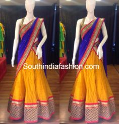 I LOVE THIS blue and yellow half saree
