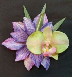 Stunning purple tropical flower and green orchid by StardustDames