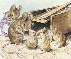 beatrix potter:  Tom Thumb and wife Hunca Munca and their babies being taught not to get caught in a mouse trap.