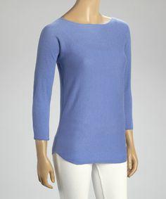 Cobalt Blue Boatneck Cashmere Sweater