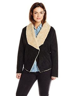9508daeef0802 Bernardo Women s Plus-Size Plus-Size Faux-Shearling Bonded Suede Fashion  Jacket  Faux suede shearling jacket with snap front closure and rib knit  under ...