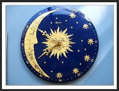 VINTAGE HERMLE QUARTZ WALL CLOCK – SUN, MOON & STARS