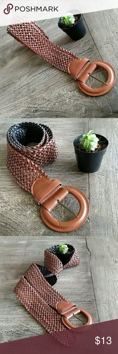 """Brown Bulky Belt Large brown belt measuring at 48"""". Belt has flexibility for further expansion. Able to place the prong of the belt anywhere on the strap. Accessories Belts"""