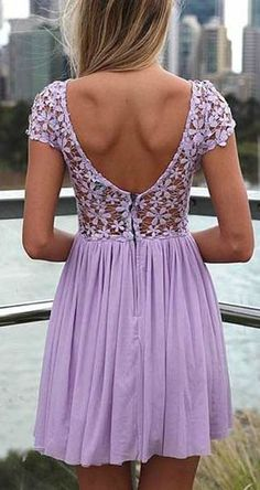 Cute Purple Lace and Floral Design Chiffon Dress
