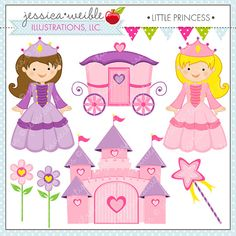Little Princess Cute Digital Clipart for Commercial or Personal Use, Princess Graphics, Princess Clipart, Castle, Carriage, Clip Art