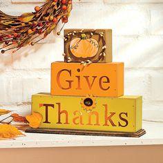 """Give Thanks"" Light Blocks - TerrysVillage.com"
