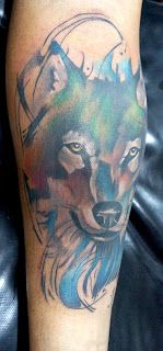 POWER DRAGON TATTOO: Lobo aquarela