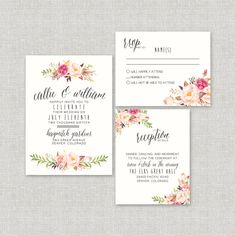 Watercolor Floral Wedding Invitation Suite by SplashOfSilver // Rustic, Boho Chic // Beautiful for a Spring/Summer wedding! Country Wedding Invitations, Wedding Invitation Design, Wedding Stationery, Watercolor Wedding Invitations, Diy Invitations, Calligraphy Watercolor, Invitation Kits, Invitation Templates, Festa Party