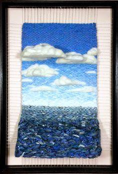 Dimensional Weaving - Martina Celerin fiber art: Looking at more water than I'd care to! Weaving Textiles, Weaving Art, Tapestry Weaving, Loom Weaving, Hand Weaving, Diy Tricot Crochet, Crochet Quilt, Techniques Textiles, Weaving Techniques