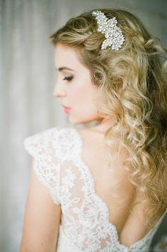 crystal bridal headpiece, wedding hair, bridal hair, La Belle the label