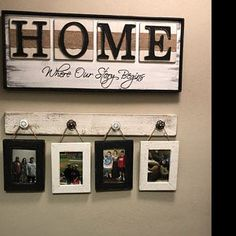 Farmhouse rustic picture hanger with frames, The beats of my heart, This is Us, White distressed photo display, Mother's Day gift for mom Dog Picture Frames, Rustic Picture Frames, Rustic Frames, Picture Walls, Rustic Bathroom Decor, Farmhouse Wall Decor, Country Decor, Country Shop, Modern Country