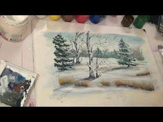 Зимний пейзаж, гуашь, демо версия - YouTube