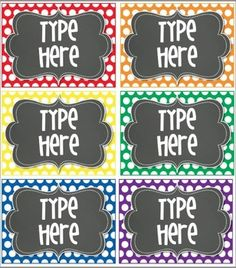 6 Blank Editable Polka Dot Tags/ Labels for your classroom. You will need to have POWERPOINT to add your own text to the tags/ labels. You will be able to save the labels/tags with your text on it. Just go to file and save! by Tifanie Polka Dot Classroom, Classroom Labels, Classroom Tools, Classroom Organisation, Teacher Organization, Teacher Tools, Classroom Design, Classroom Displays, Kindergarten Classroom