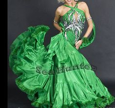 Ballroom Smooth Standard Dance Competition US6 Dress Costume #B3276 Green