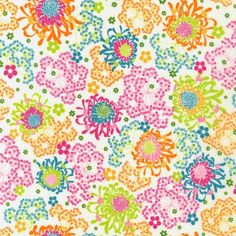 London Calling VOILE quilt or craft fabric bundle by Robert Kaufman- Dainty Mum in Bright- 1 Yard or by the Yard