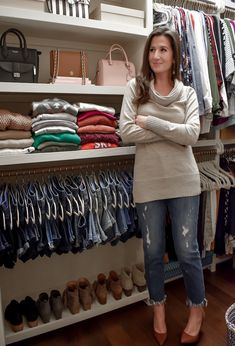 shoe organization My Closet Tour and Tips for Keeping an Organized and Beautiful Wardrobe Jean Organization, Best Closet Organization, Clothing Organization, Closet Hangers, Pant Hangers, Closet Tour, Walk In Closet, Closet Space, Hanging Clothes Organizer