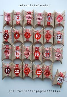 Toilet Paper Rolls Advent Calendar and 25 Homemade Advent Calendars on Frugal Coupon Living plus ideas for your Christmas Cookie Exchange and Homemade DIY Christmas Gift Ideas./Christmas decorations & ideas Source by drejca Homemade Christmas, Diy Christmas Gifts, Christmas Holidays, Christmas Decorations, Christmas Ideas, Homemade Decorations, Christmas Tables, Christmas Tree, Nordic Christmas
