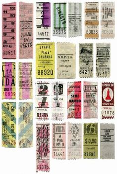 Vintage argentinian bus tickets. // Boletos antiguos de Argentina.