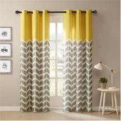 Yellow And Grey Chevron Window Curtains
