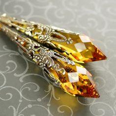 Boucles d'oreilles de cristal Swarovski topaze par DorotaJewelry