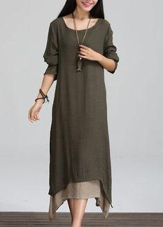 Round Neck Long Sleeve Asymmetric Hem Dress on sale only US$25.53 now, buy cheap Round Neck Long Sleeve Asymmetric Hem Dress at lulugal.com