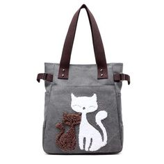 6875d3e9ca Women Shoulder Bags Female Printing Cat Canvas Handbag Ladies Large  Capacity Casual Totes Bag Female Famous Brand Cute Handbags
