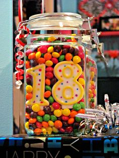 Skittles In A Mason Jar With Bday Candles My Skittle Loving Son Is Turning 18 On Thursday