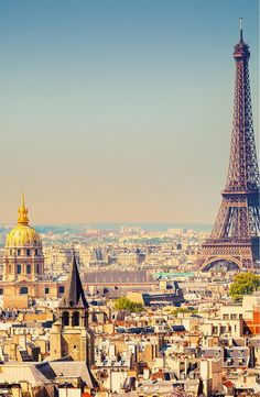 A gorgeous view of Paris on a sunny day,