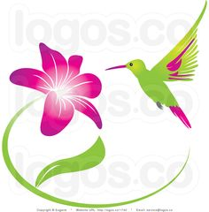 Royalty Free Humming Bird and Pink and Purple Flower Logo