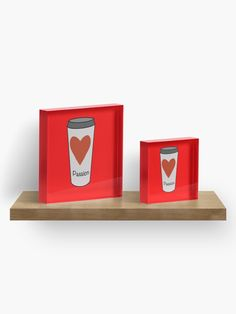 """""""Love Coffee With A Passion -White Travel Mug Coffee Design"""" Acrylic Block by Pultzar   Redbubble"""