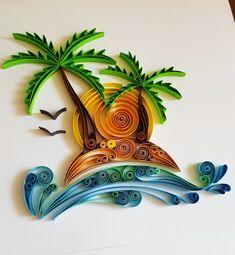 """Quilled Paper Art: """"Palm Beach"""" - Handmade Artwork - Paper Wall Art - Home Decor - Wall Decor - Home Decoration - Quilled Art - Beach Paper Quilling Cards, Arte Quilling, Paper Quilling Jewelry, Origami And Quilling, Quilled Paper Art, Paper Quilling Designs, Quilling Craft, Free Quilling Patterns, Quilling Comb"""