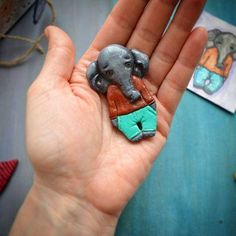 Еlephant polymer clay brooch.Gift ideas.Handmade Polymer Clay