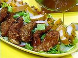 Pecan Crusted Chicken Tenders and Salad with Tangy Maple Dressing