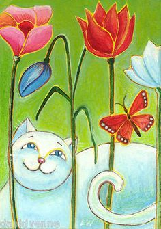 Lana Wynne Colorful Bright White Cat Butterfly Flowers 8x10 Folk Art Print