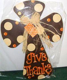 Thanksgiving door hanger-- too cute! Cross Door Hangers, Fall Door Hangers, Burlap Door Hangers, Thanksgiving Crafts, Fall Crafts, Holiday Crafts, Diy Crafts, Fall Halloween, Halloween Crafts
