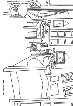 French coloring pages for kids: la-chambre-de-van-gogh-a-arles  @Heather Creswell Creswell McCallon - thought of you.