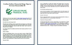 Corliss Online Financial Mag: Tips to become financially fit