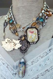 vintage jewelry and life Leather Jewelry, Boho Jewelry, Jewelry Crafts, Jewelry Art, Jewelry Necklaces, Jewelry Design, Statement Jewelry, Jewelry Ideas, Recycled Jewelry