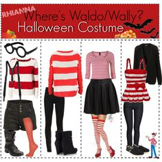 Where's Wally Halloween Costume by the-tippie-chickies on Polyvore featuring Rut m.fl., Hollister Co., Vero Moda, Bardot, River Island, DKNY, Wallis, Steve Madden, TOMS and Yohji Yamamoto