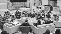 Man, it's seriously happening: 'Star Wars: Episode VII' table read at Pinewood Studios. Clockwise from writer-director J.J. Abrams: Harrison Ford, Daisy Ridley, Carrie Fisher, Peter Mayhew, producer Bryan Burk, Lucasfilm's Kathleen Kennedy, Domhnall Gleeson, Anthony Daniels, Mark Hamill, Andy Serkis, Oscar Isaac, John Boyega, Adam Driver, and writer Lawrence Kasdan. (Photo by David James.)