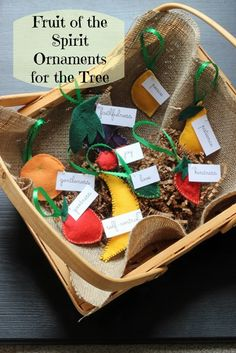 Fruit of the Spirit Christmas Tree Ornaments - Create these fun and whimsical homespun Christmas ornaments for the tree. They're a great reminder of the fruits of the Spirit. Enjoyed by www.mygrowingtraditions.com