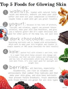 Skin Care Tips :Top 5 Foods For Glowing Skin.  Visit us at www.bhbeautycollege.com to learn more about the services we offer in Rapid City and Sioux Falls.