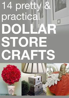 I love DIY crafts that don& hurt my wallet! These 14 Dollar Store crafts are perfect for my budget! I love DIY crafts that dont hurt my wallet! These 14 Dollar Store crafts are perfect for my budget! Dollar Store Hacks, Dollar Stores, Dollar Dollar, Dollar Bills, Thrift Stores, Diy Craft Projects, Craft Ideas, Diy Ideas, Decor Ideas