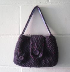 Hand Knitted Bag Small Purple Evening Bag by Kezylou on Etsy