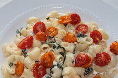 Roasted Tomato Pasta in Basil Cream Sauce