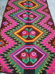 Antique long hand woven traditional wool carpet rug kilim from Transylvania - at www.greatblouses.com